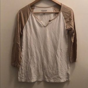 Old Navy Vintage Baseball Tee in Nude and White